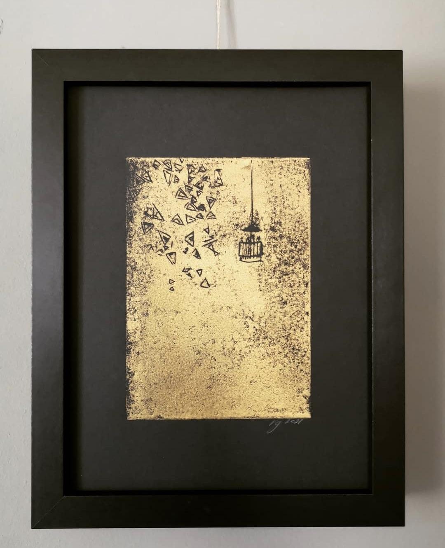 Nacelle, Verdegrine, Gold Linogravure