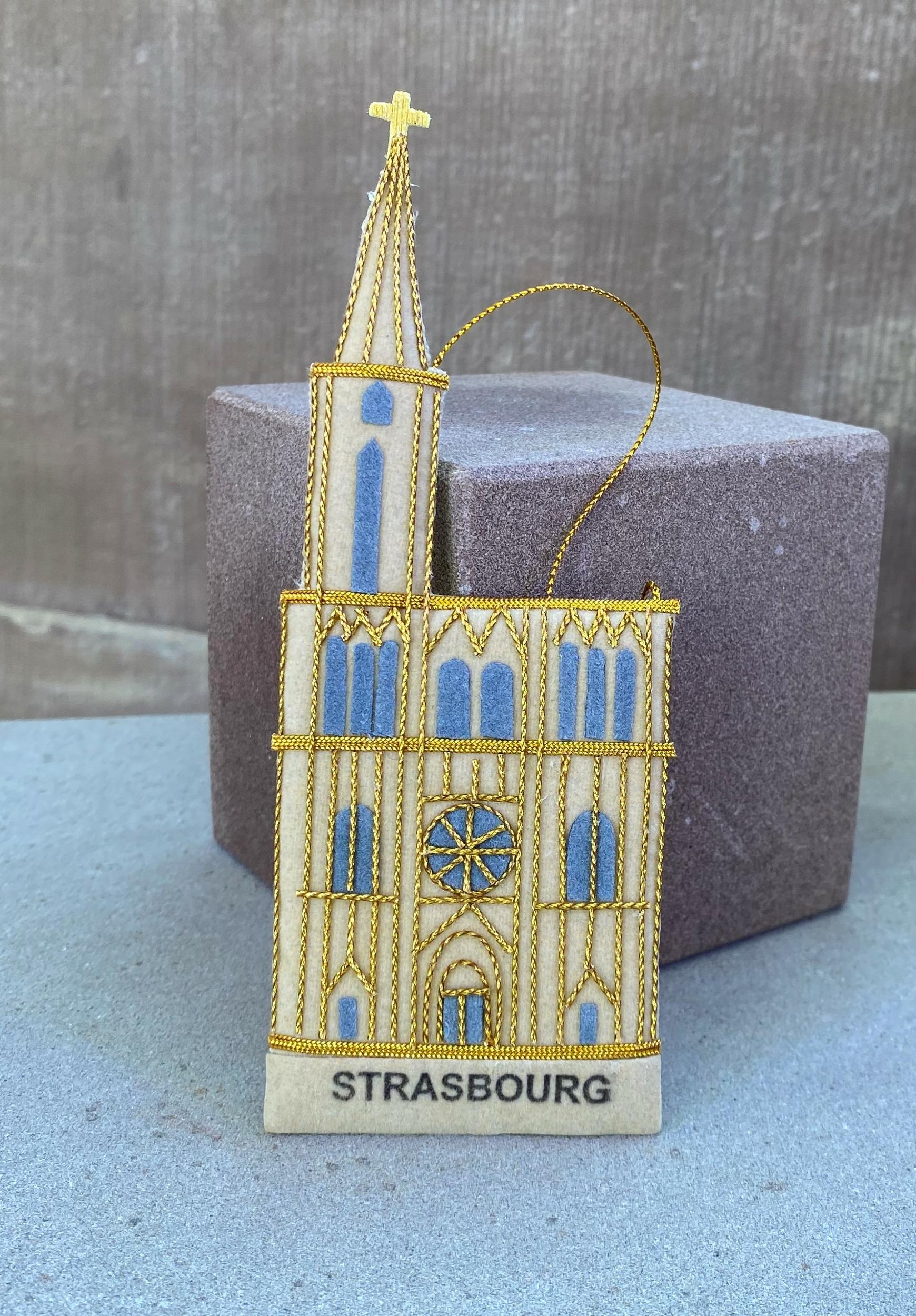 ornement sapin noël Tissu cathédrale strasbourg