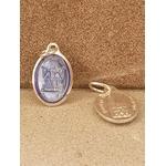 médaille vierge Strasbourg bleu clair 17mm Argentée