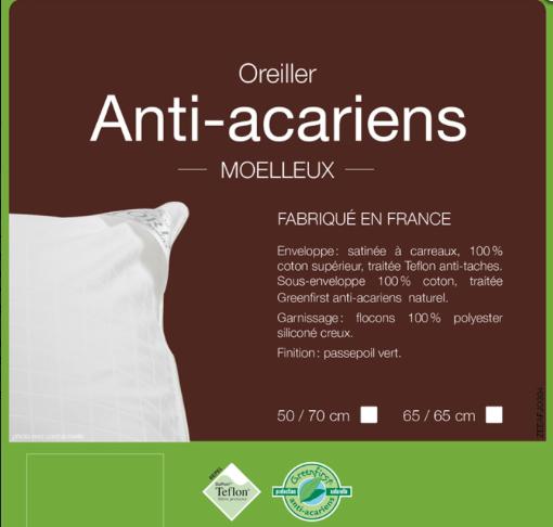 Oreiller sant anti acariens couettes et oreillers oreillers envie d 39 - Oreillers anti acariens ...