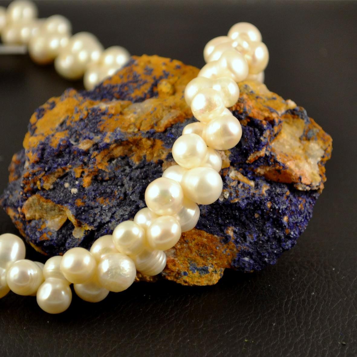 Collier perle d\'eau douce ronde jumelle-croisé blanc