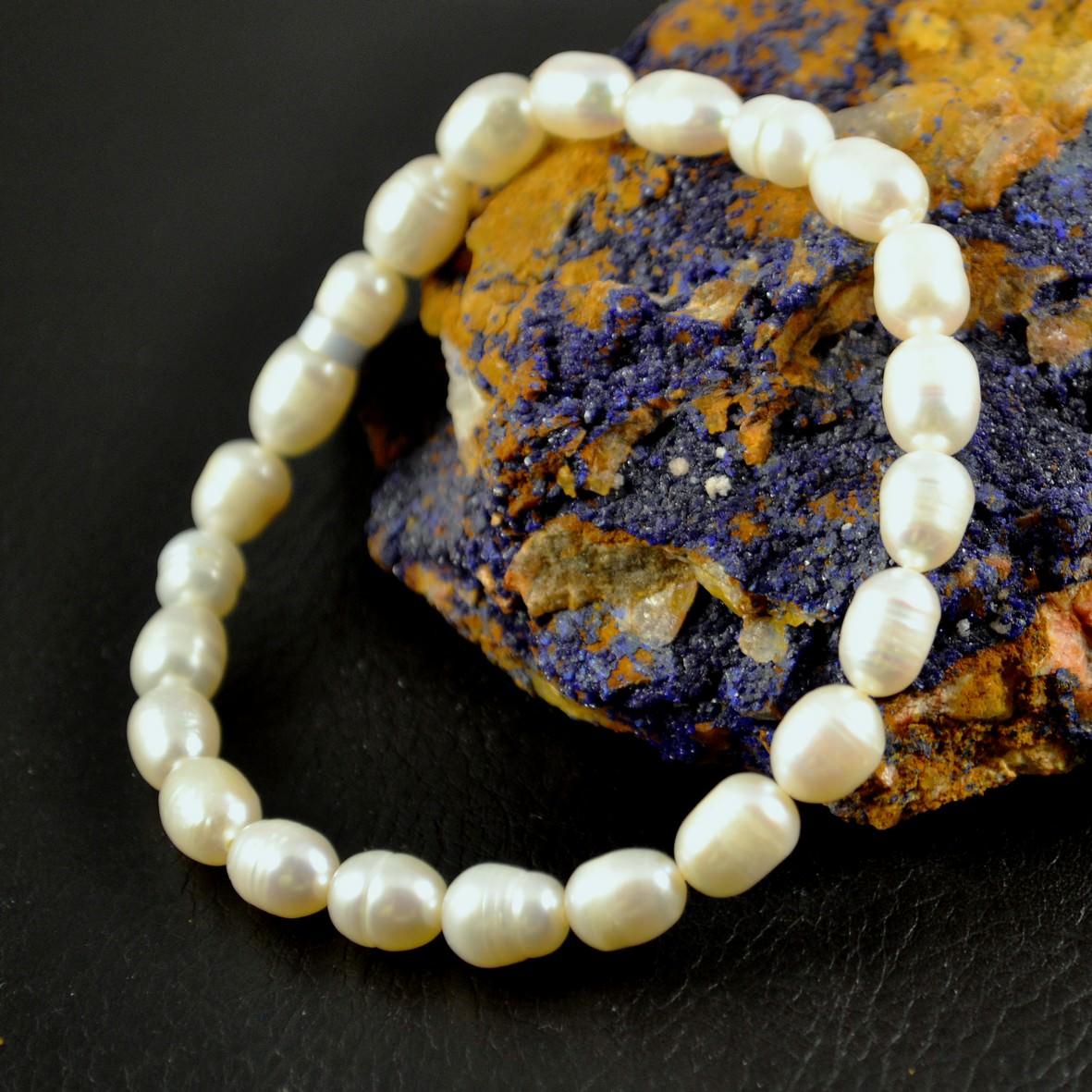 Bracelet perle d\'eau douce grain de riz 6mm blanc