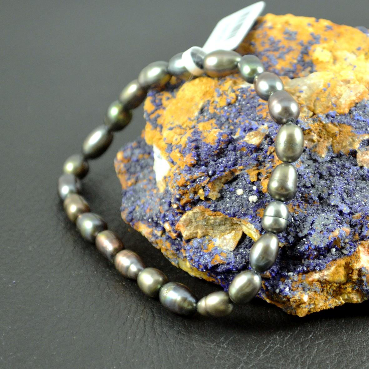 Bracelet perle d\'eau douce grain de riz 6mm  noir
