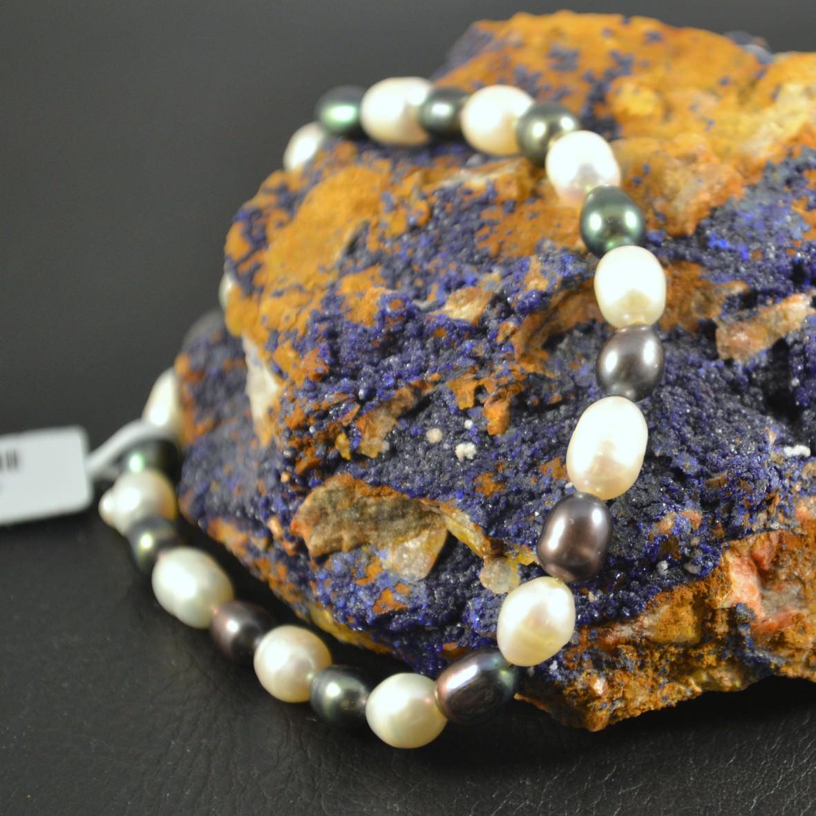 Bracelet perle d\'eau douce grain de riz6 mm blanc-noir