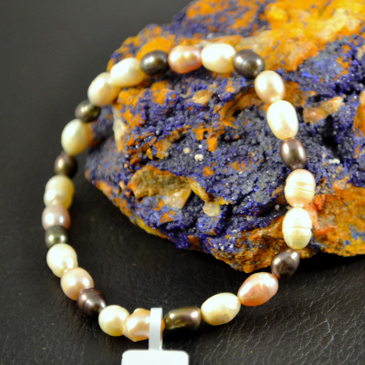 Bracelet perle d\'eau douce grain de riz 6 mm blanc -rose-noir