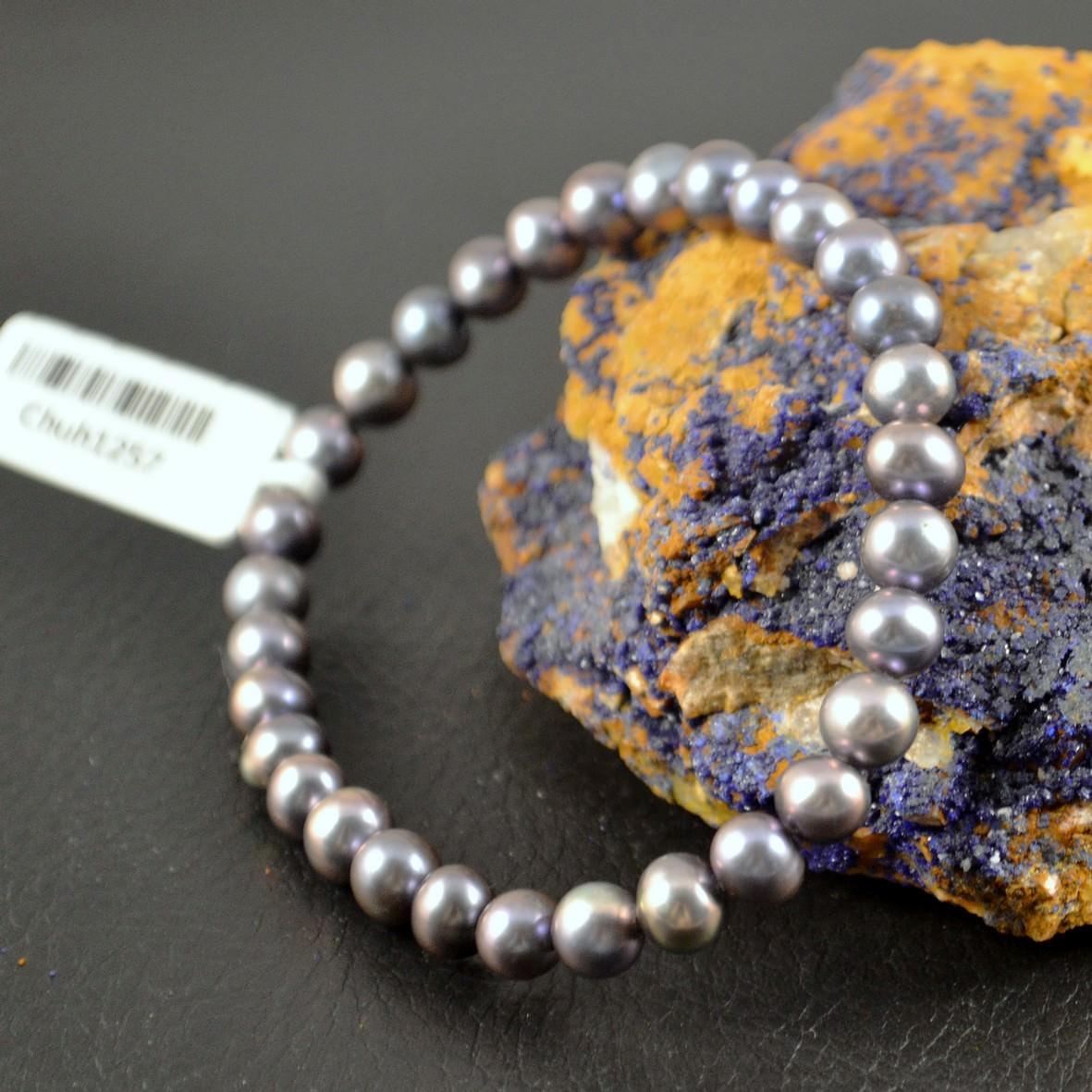Bracelet perle d\'eau douce ronde 6mm noir