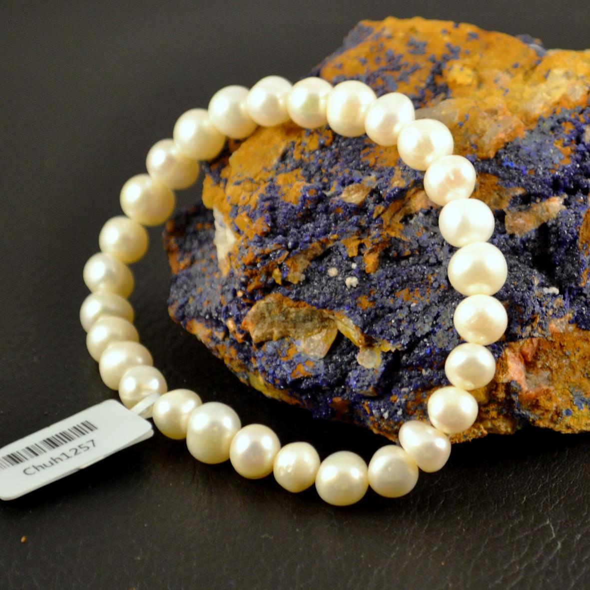 Bracelet perle d\'eau douce ronde 6mmblanc