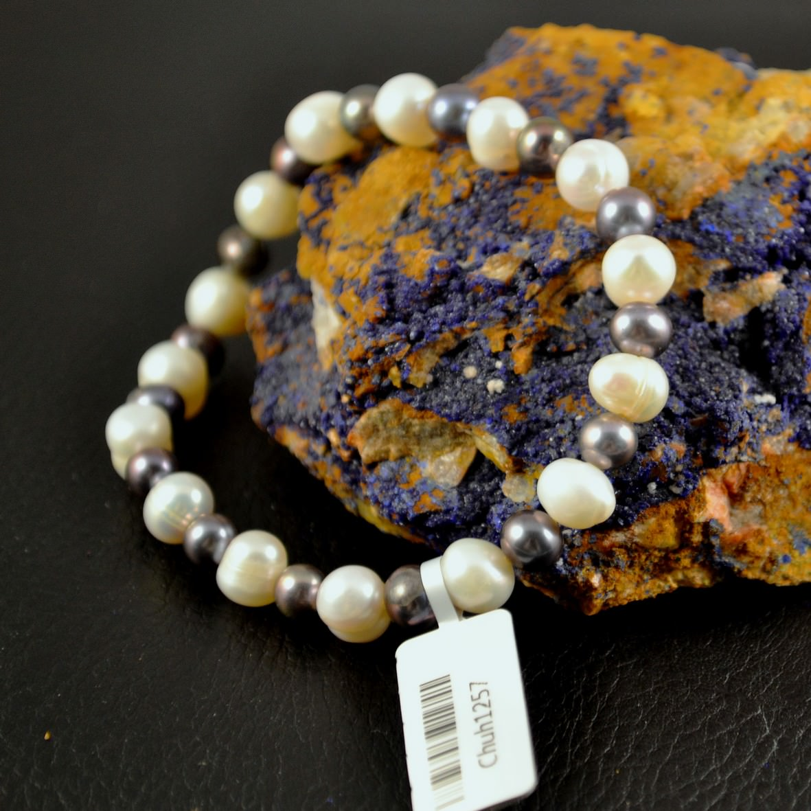 Bracelet perle d\'eau douce ronde 6 mmnoir blanc
