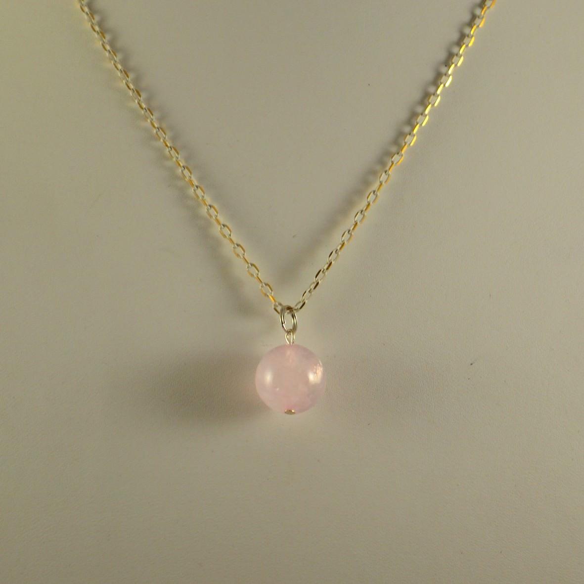Pendentif quartz rose ronde 14 mm