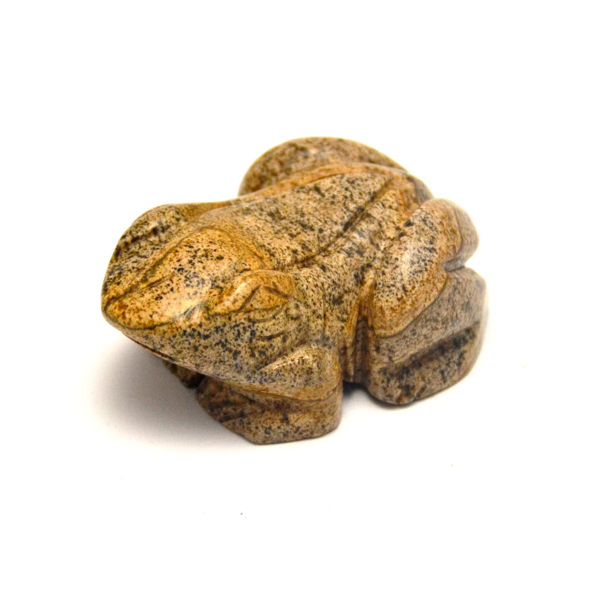 statuette minéraux grenouille en pierre naturelle de jaspe paysage