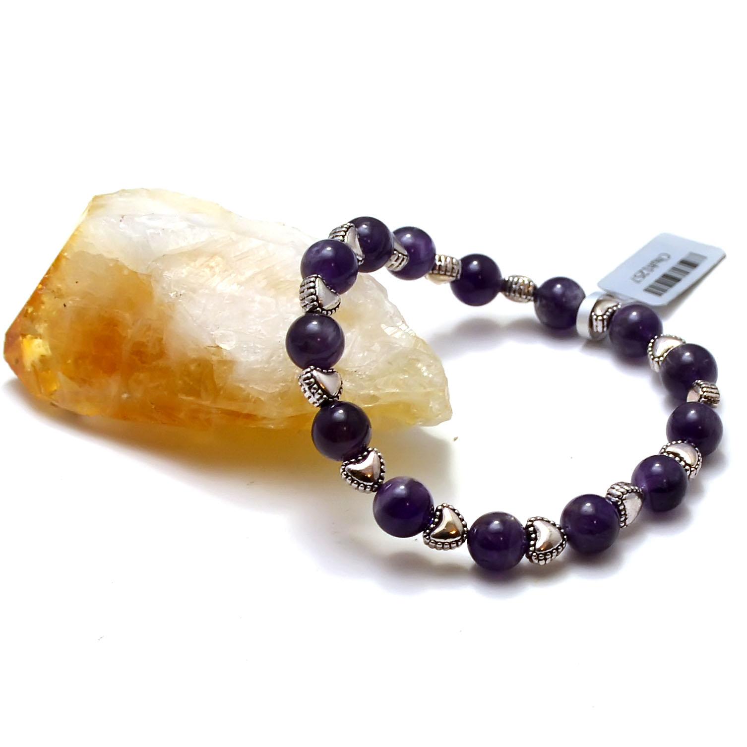 Bracelet améthyste, perle ronde 8 mm/perle argenté