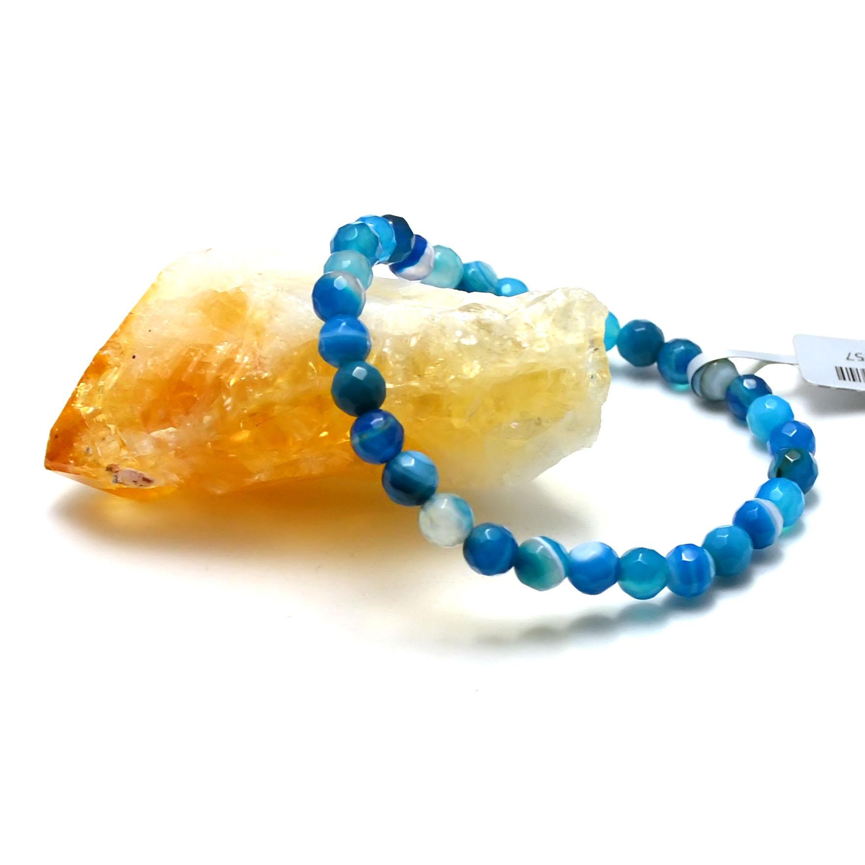 Bracelet agate teinté bleu ronde facettée 6 mm