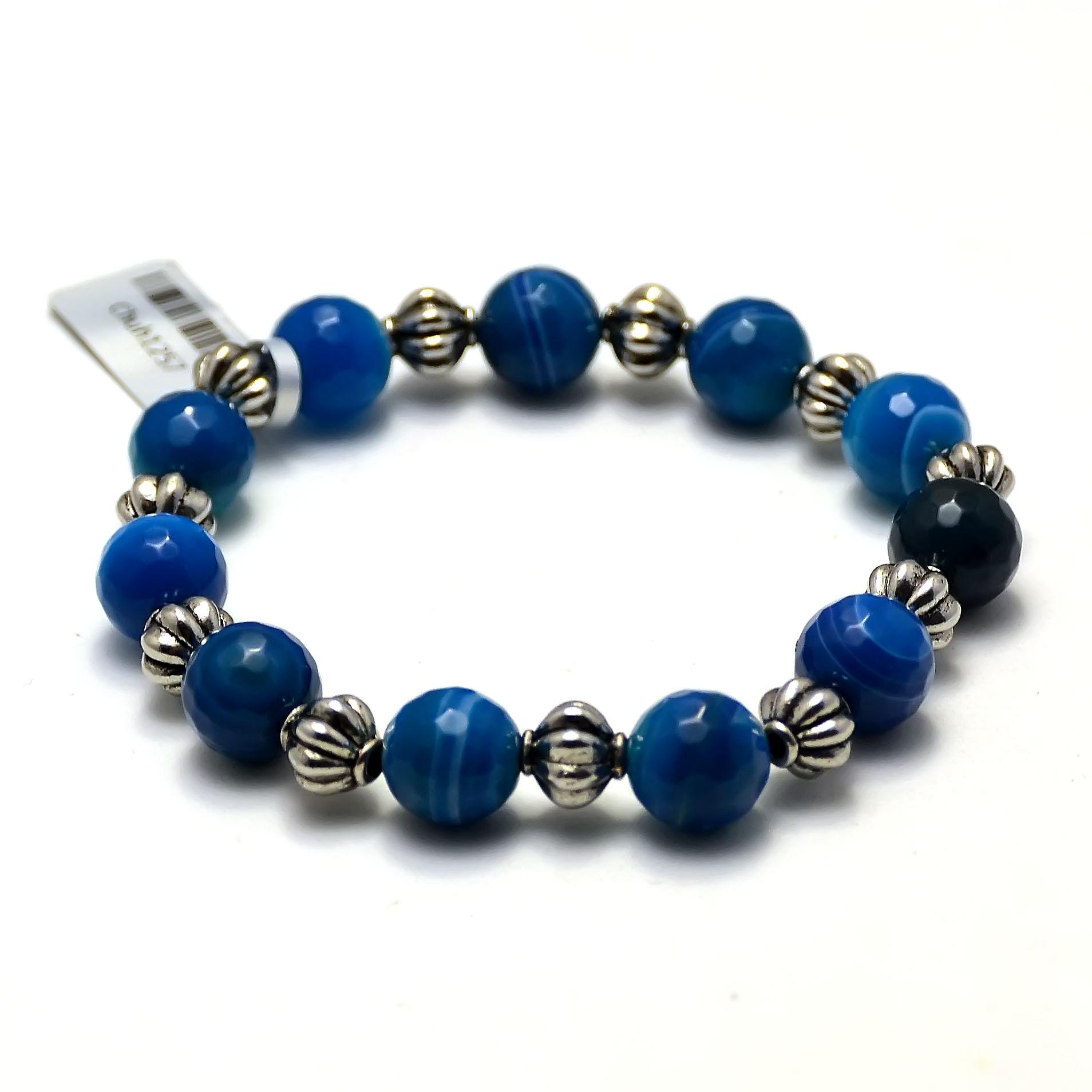 Bracelet agate teintée bleu ronde facettée 10 mm -métal argenté