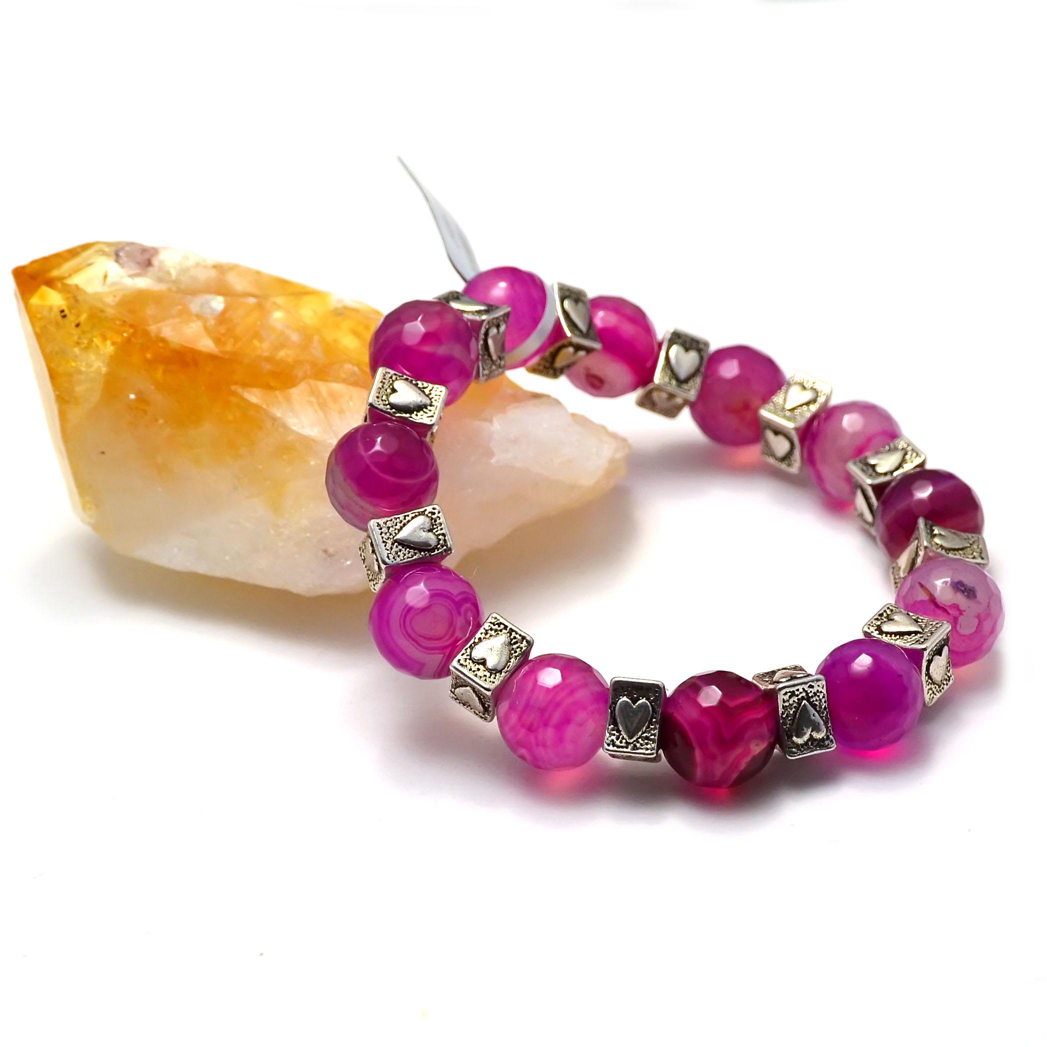 bracelet agate fuschia ronde facettée 12 mm-apprêt