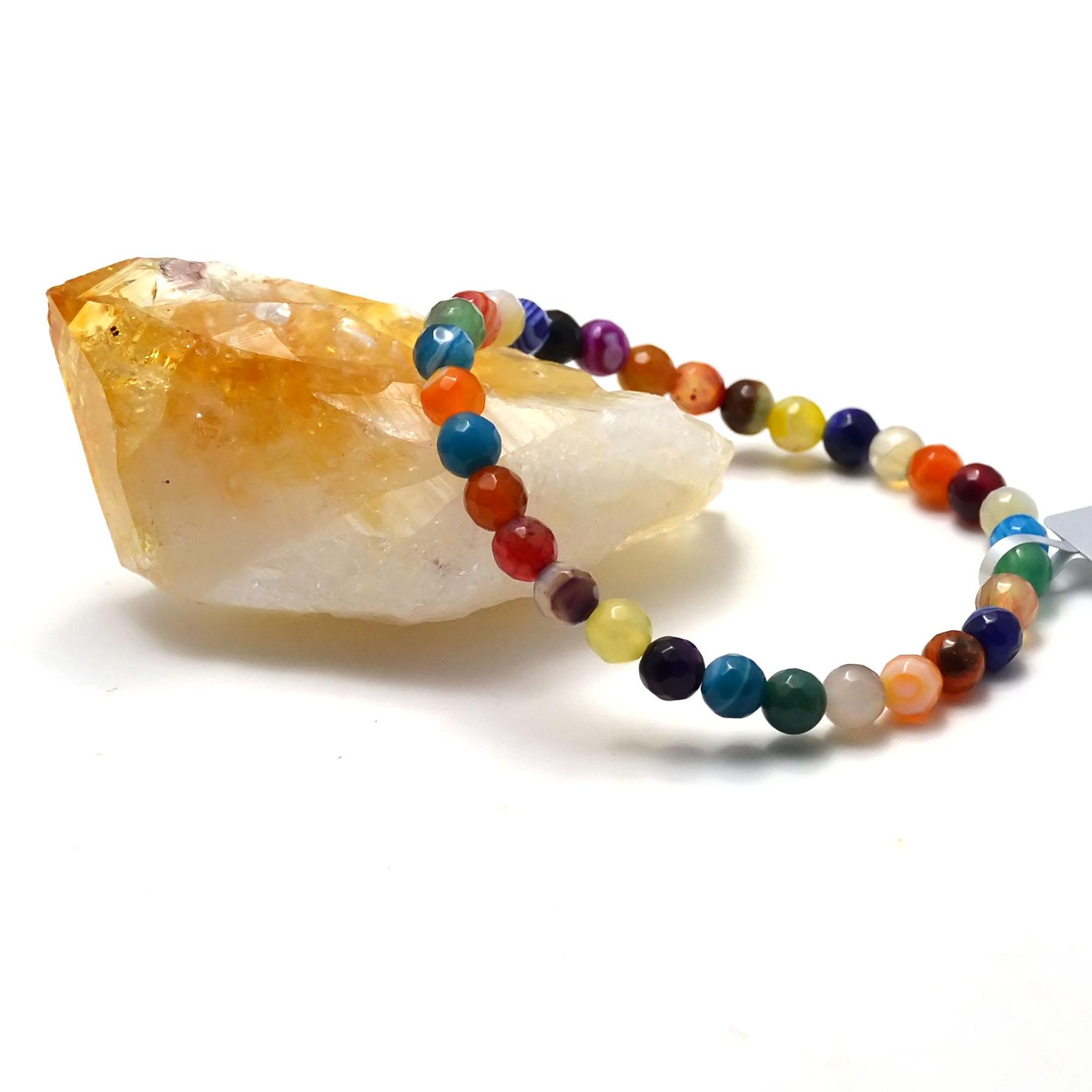Bracelet agate teinté multicolore  ronde facettée 6 mm