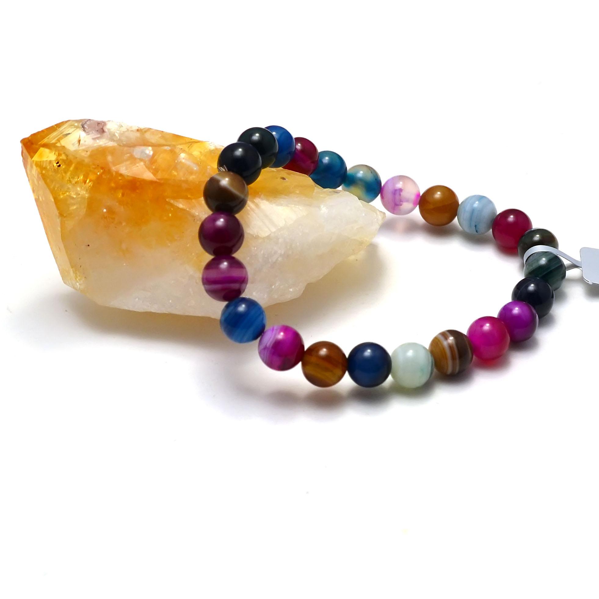 Bracelet agate teinté multicolore  ronde 8 mm