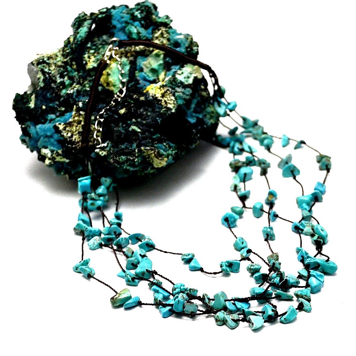 collier création amas d\'étoile turquoise
