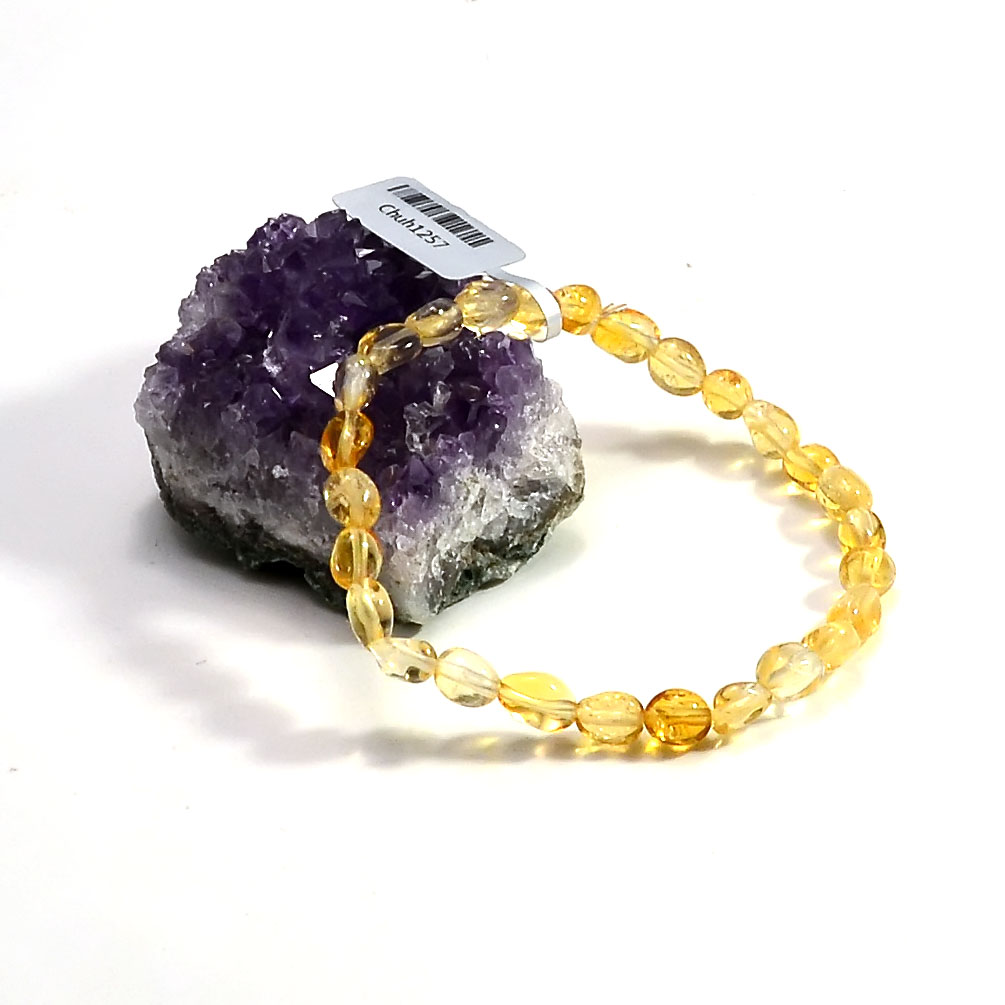 Bracelet citrine  mini galet baroque