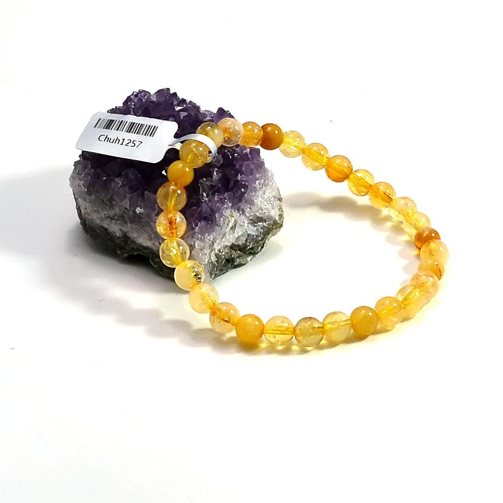 bracelet citrine  ronde 6 mm
