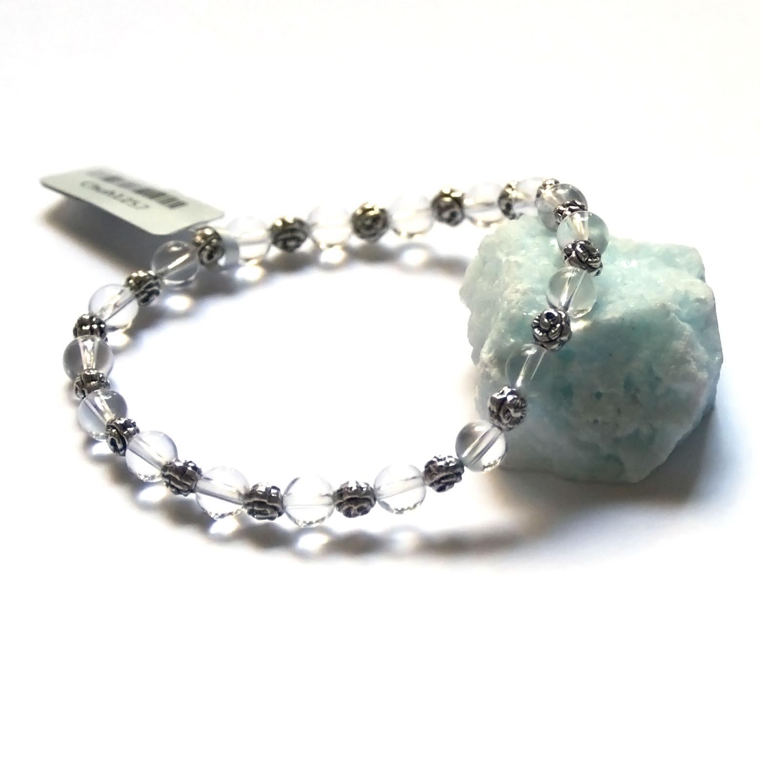 Bracelet cristal de  roche ,  perle ronde  6 mm - ronde argenté 5 mm