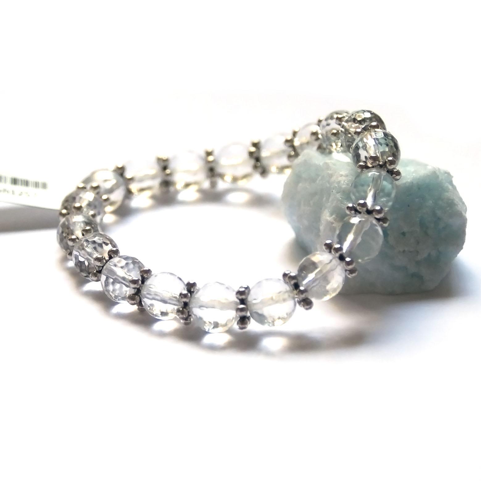 Bracelet  cristal de roche ,  perle ronde facettée 8 mm - perle argenté