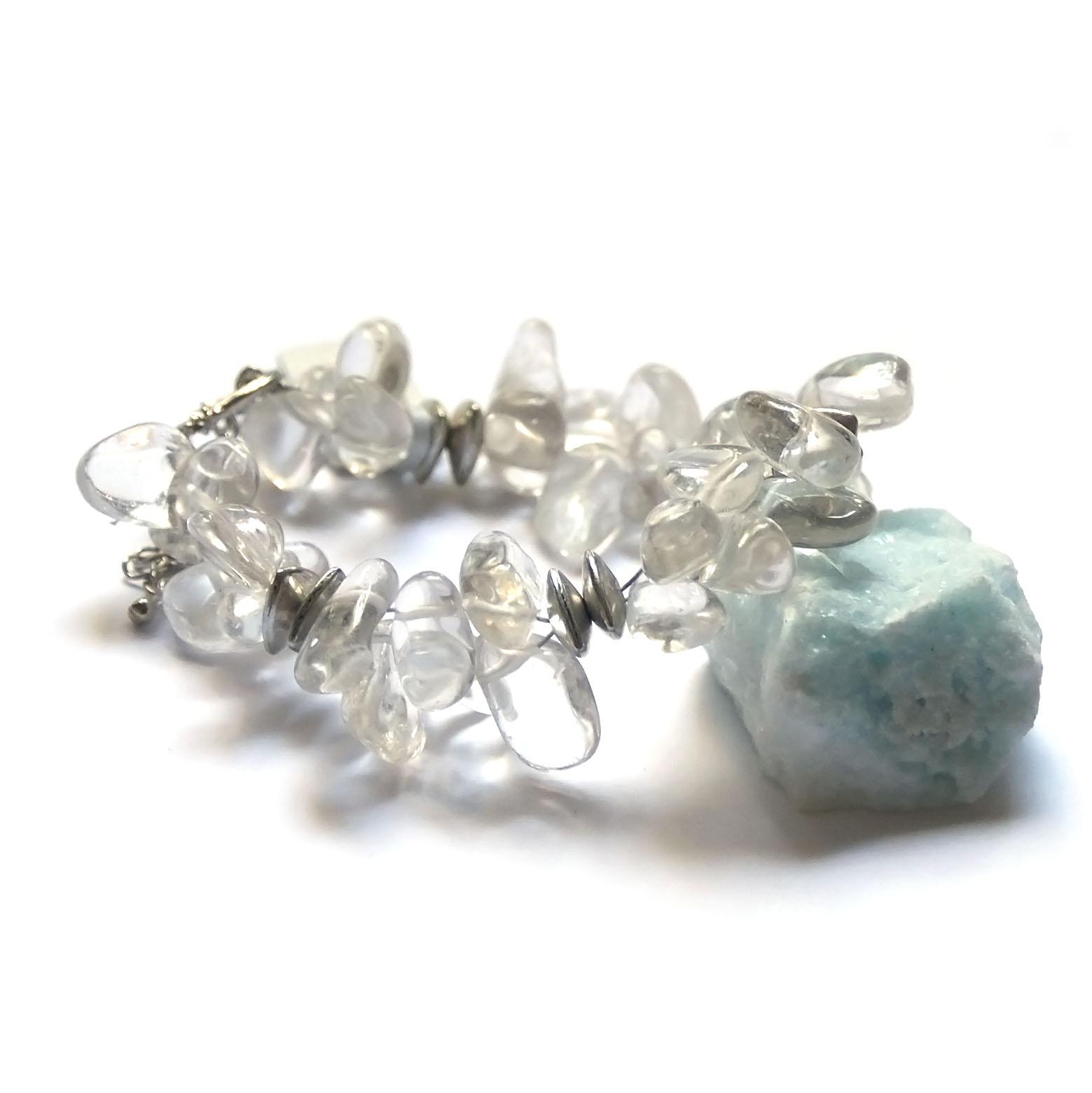 bracelet cristal de roche ,  Ts baroque -, double rangs