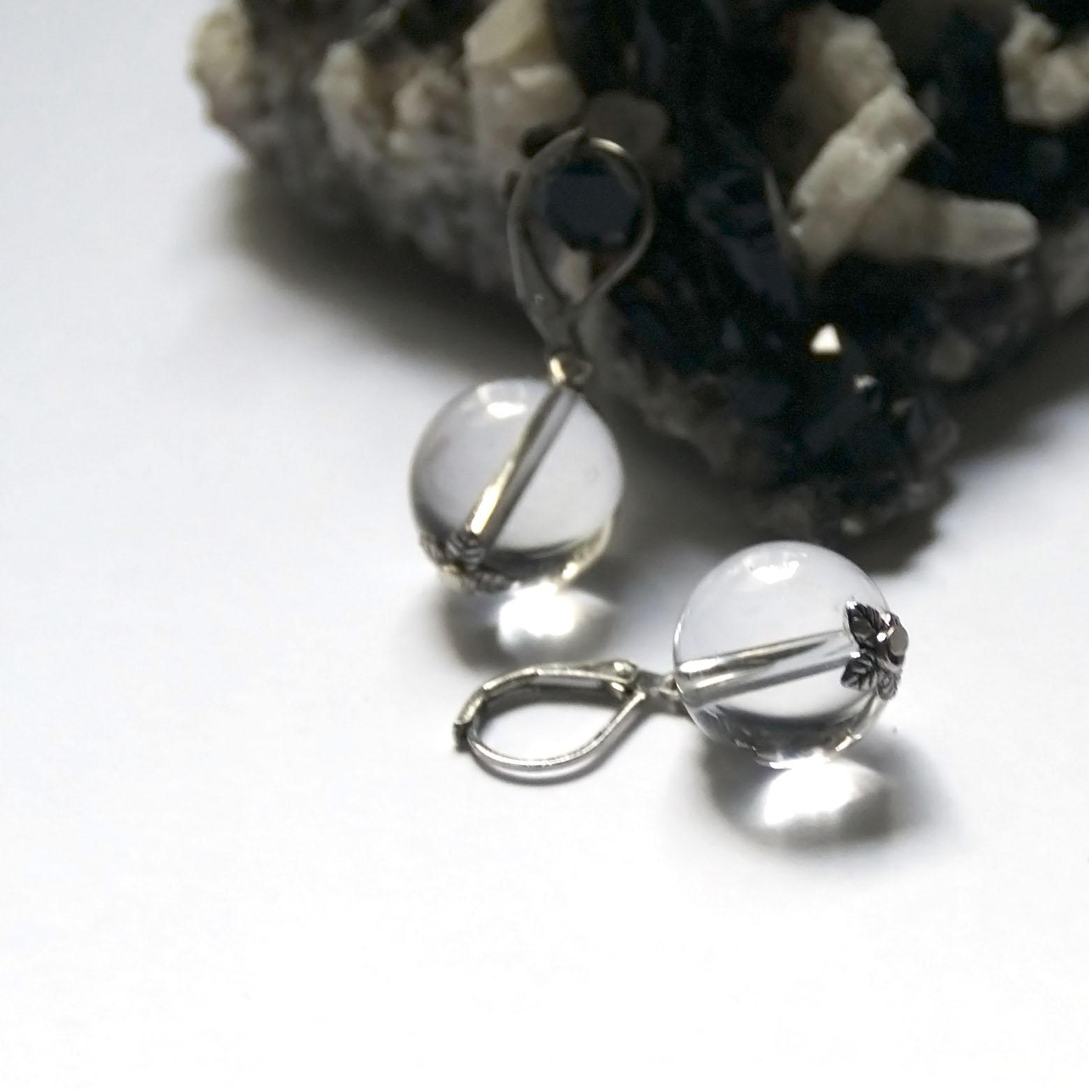 Boucle d\'oreille quartz -  perle ronde 14 mm - coupelle argenté