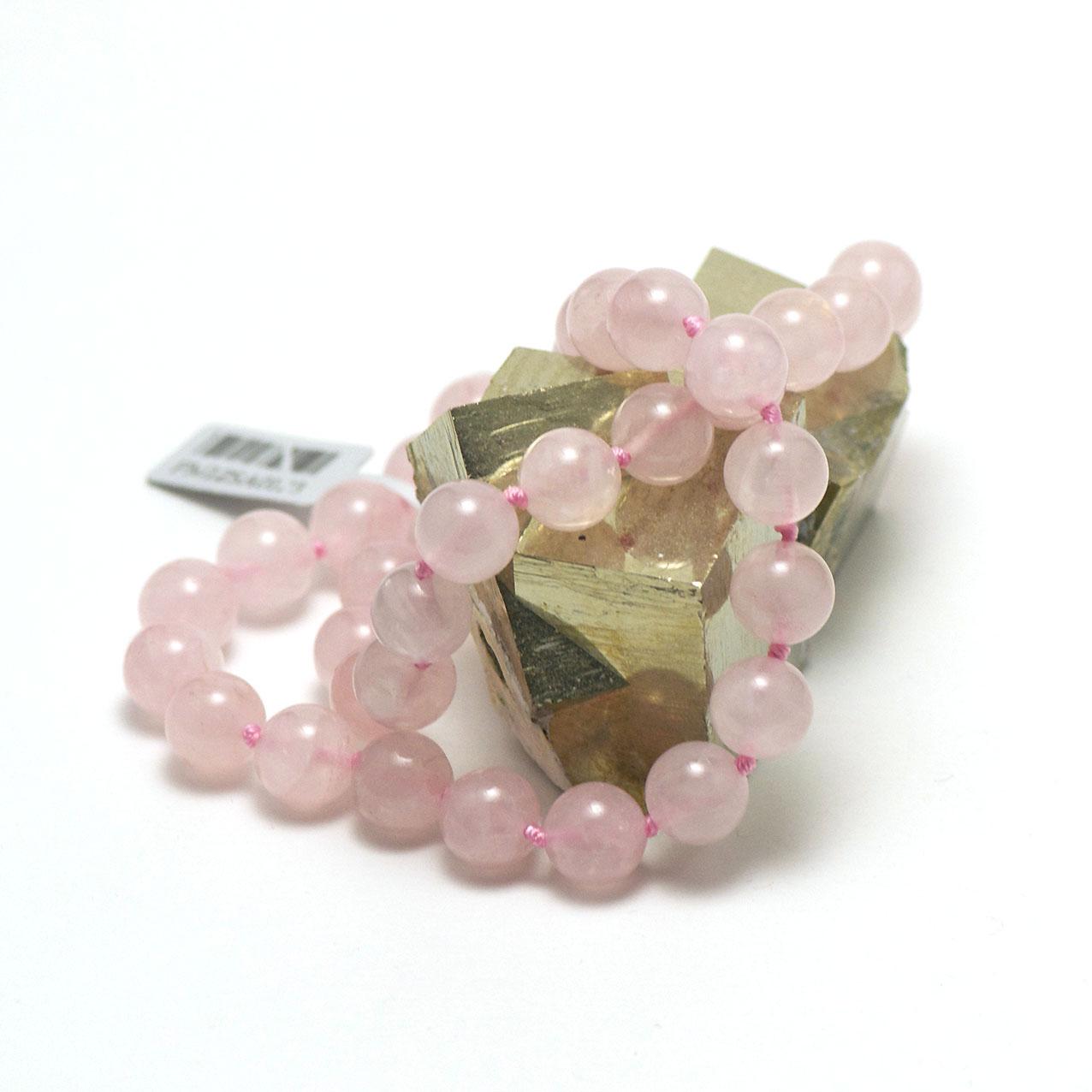 Collier quartz rose   perle ronde 10 mm