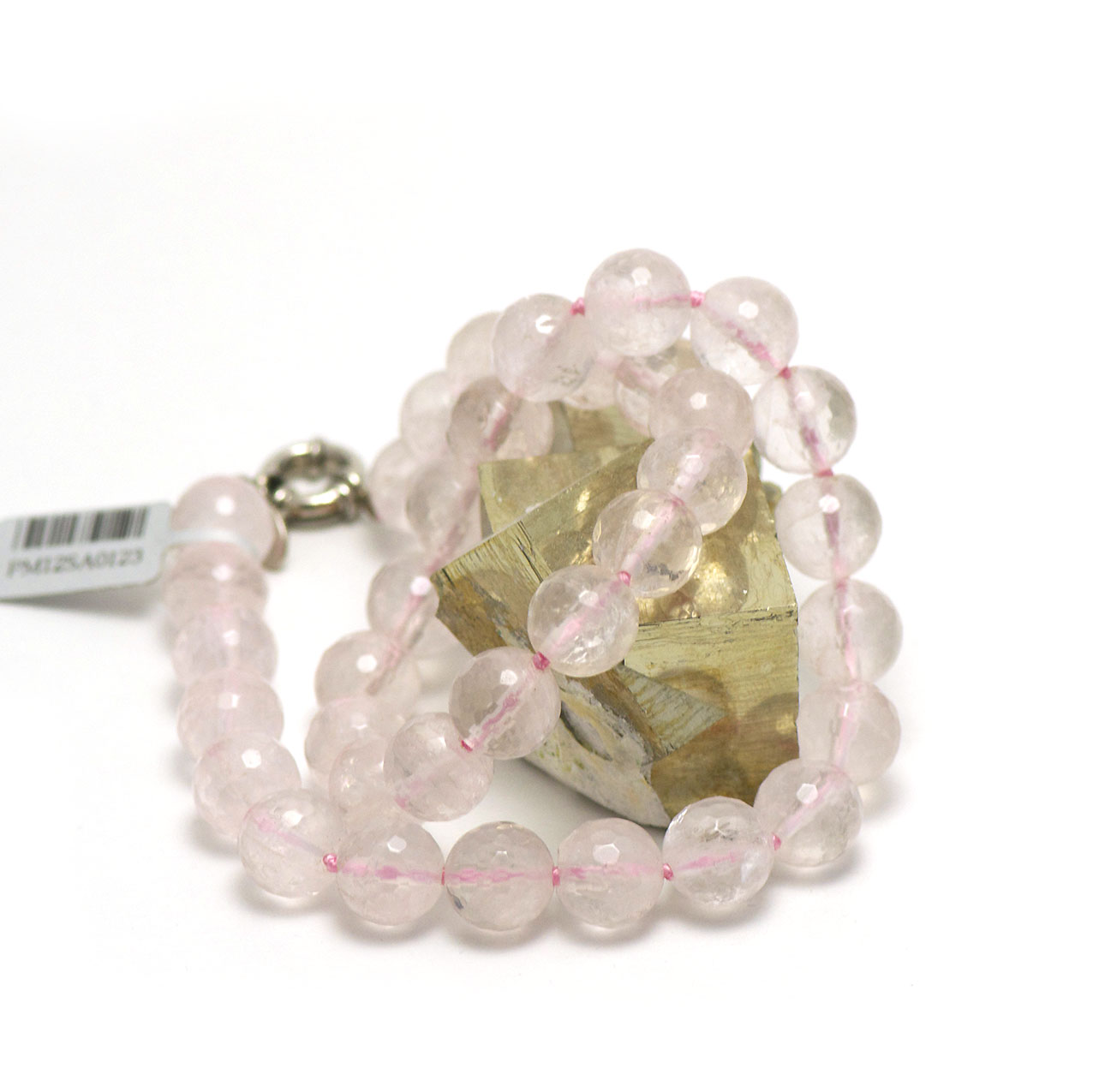 Collier quartz rose  perle ronde facettée 12 mm