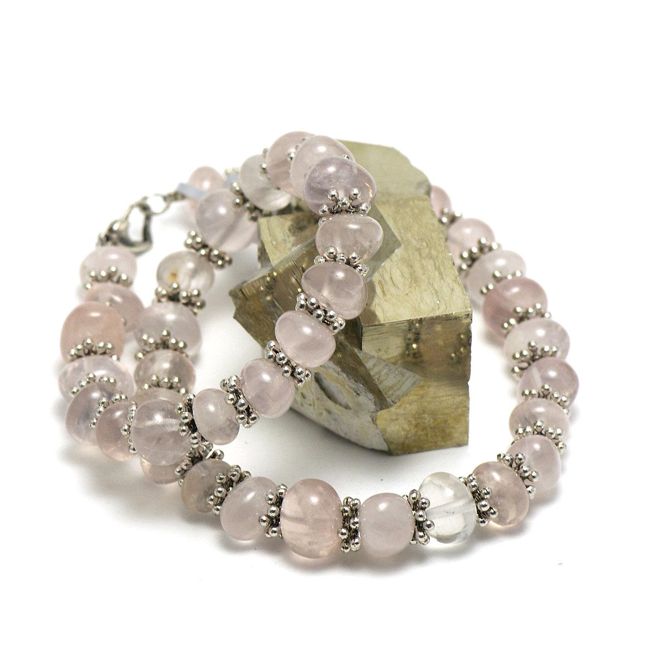 Collier quartz rose   perle rondelle baroque-apprêt argenté