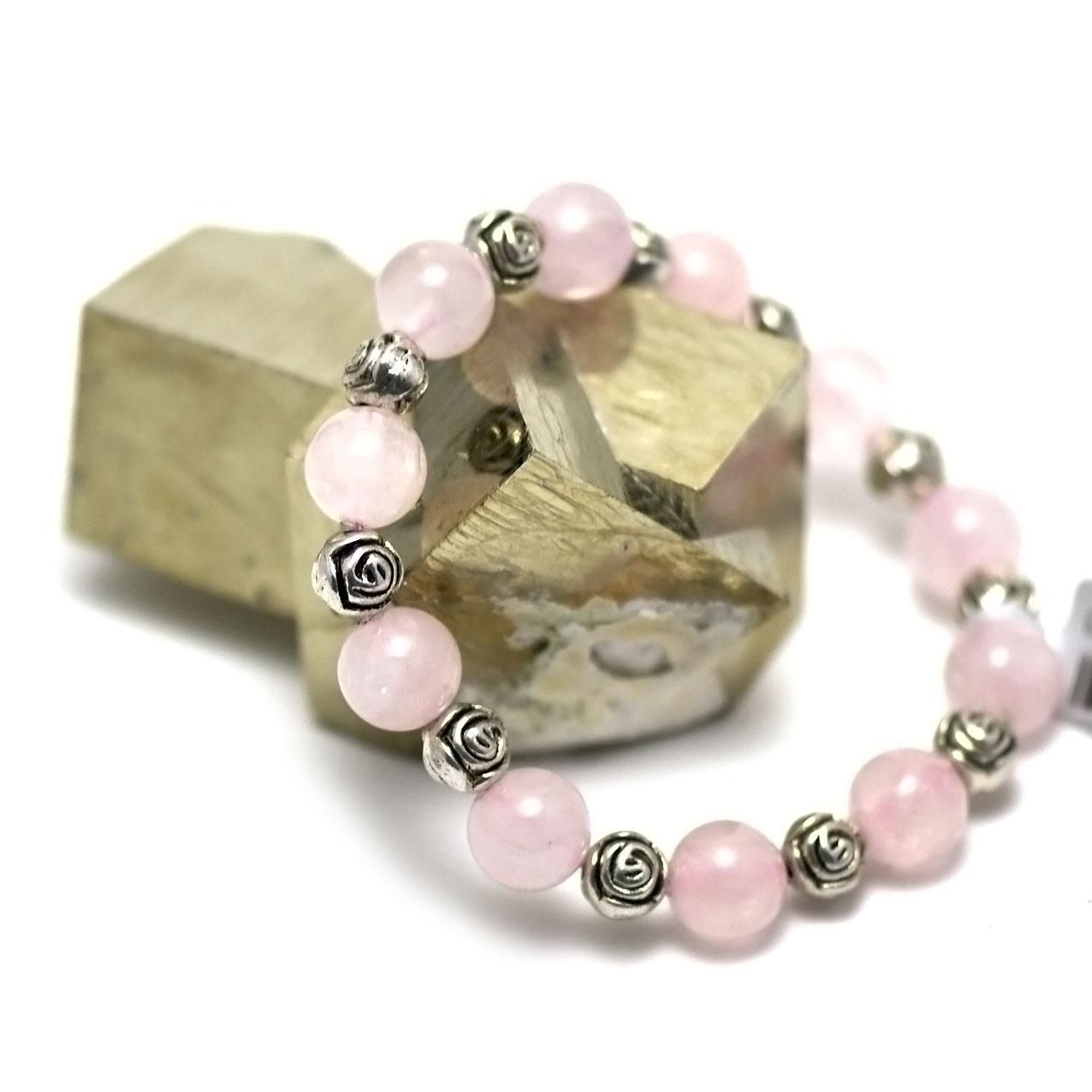 bracelet quartz rose perle ronde 10 mm -perle argenté