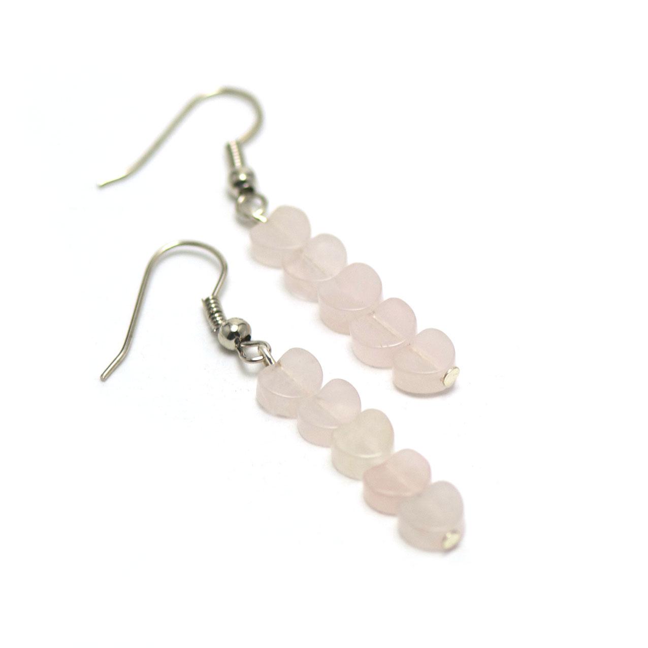 Boucle d\'oreille quartz rose  mini -coeur