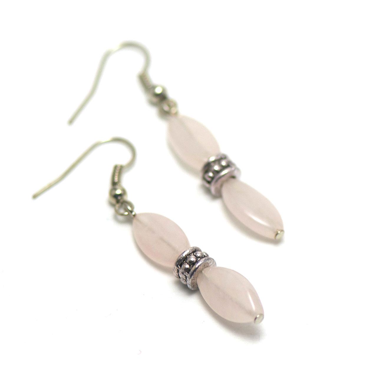boucle d\'oreille quartz rose  double ovale fine-perle argenté