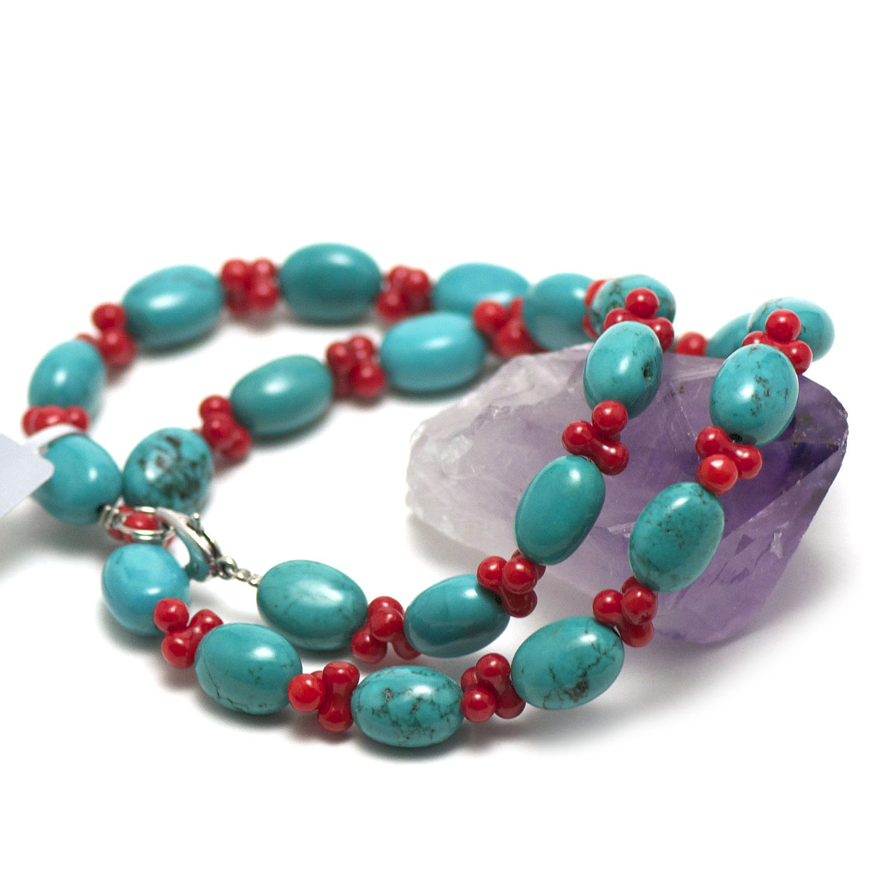 collier turquoise/bambou de mer galet - double ronde