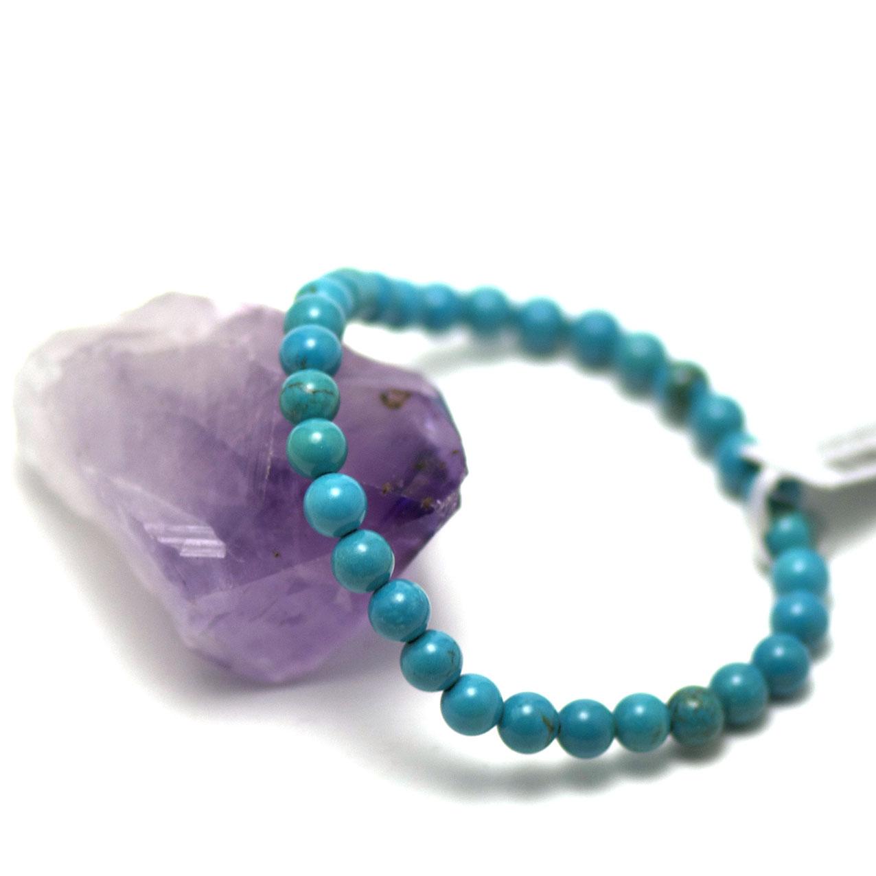 Bracelet turquoise perle ronde 6 mm