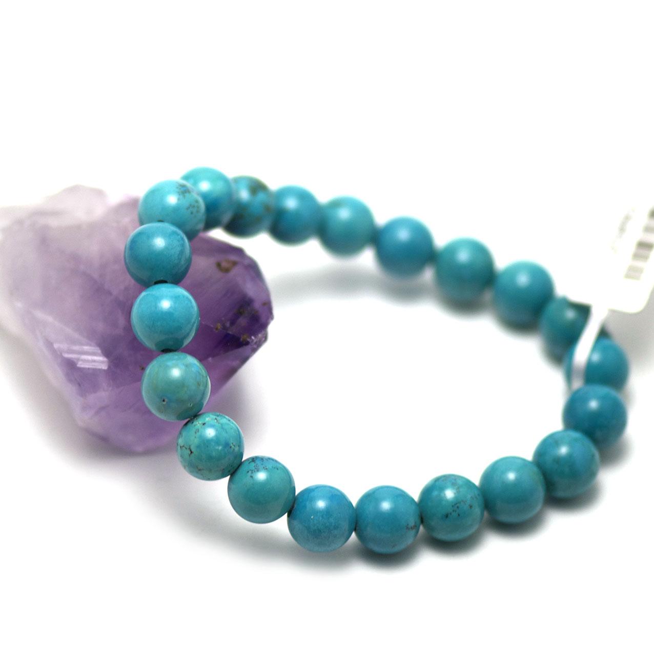 bracelet turquoise  perle ronde 10 mm