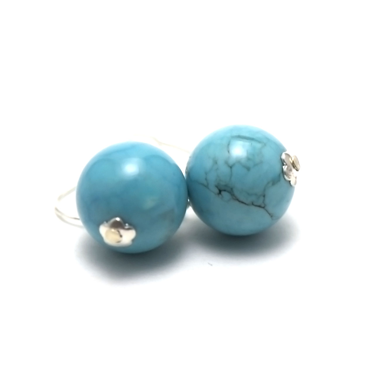 Boucle d\'oreille turquoise  ronde 12 mm