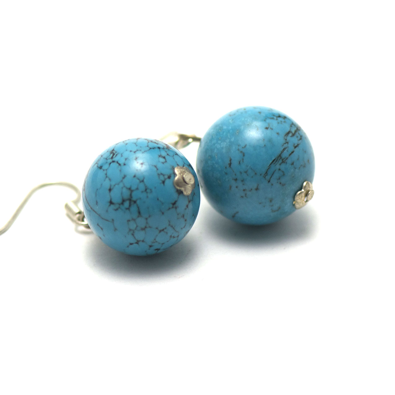boucle d\'oreille turquoise  perle ronde 14 mm