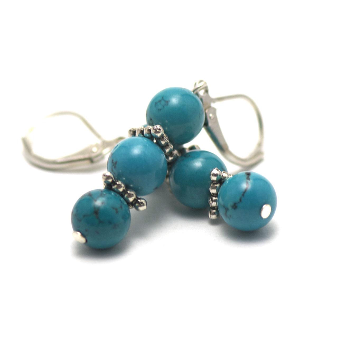 boucle d\'oreille turquoise triple perles rondes - perles argentées