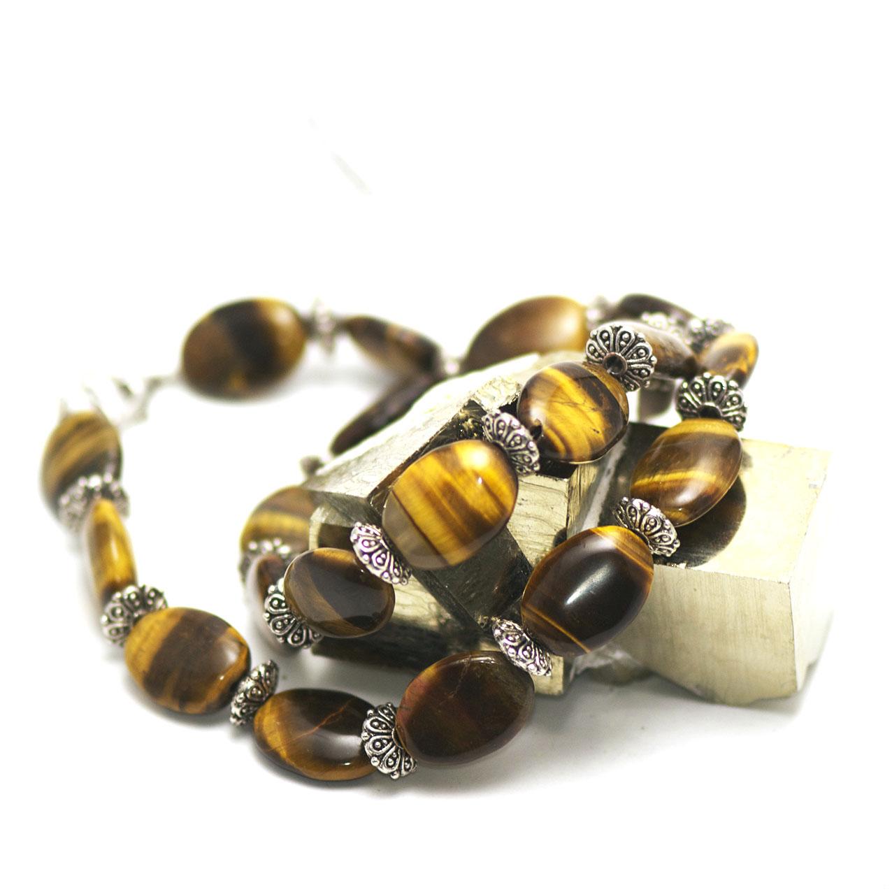 collier oeil de tigre  palet oval - perles argentée soucoupe