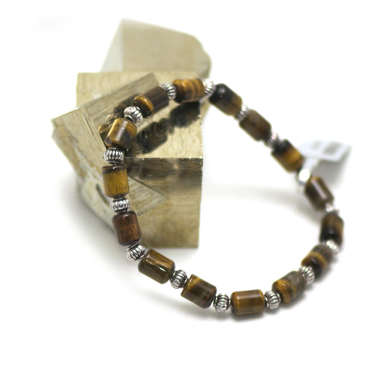 bracelet oeil de tigre  tube - perle argentée