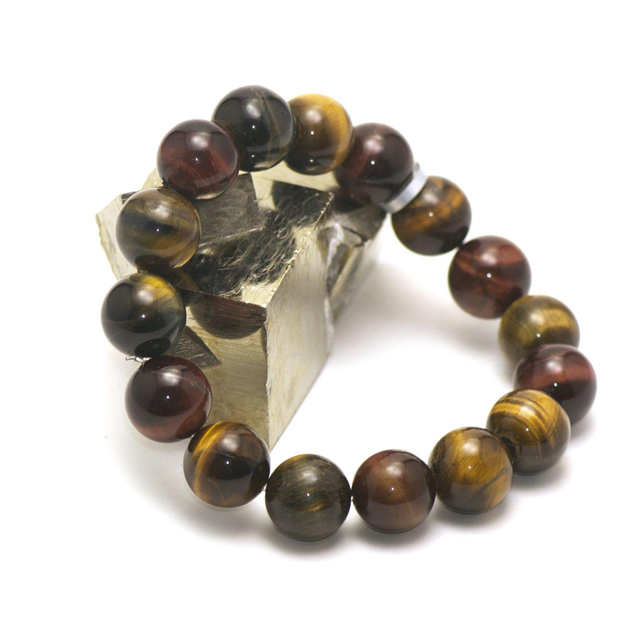 Bracelet trois oeil(oeil de tigre/oeil de taureau/oeil de faucon) , perle ronde 14 mm