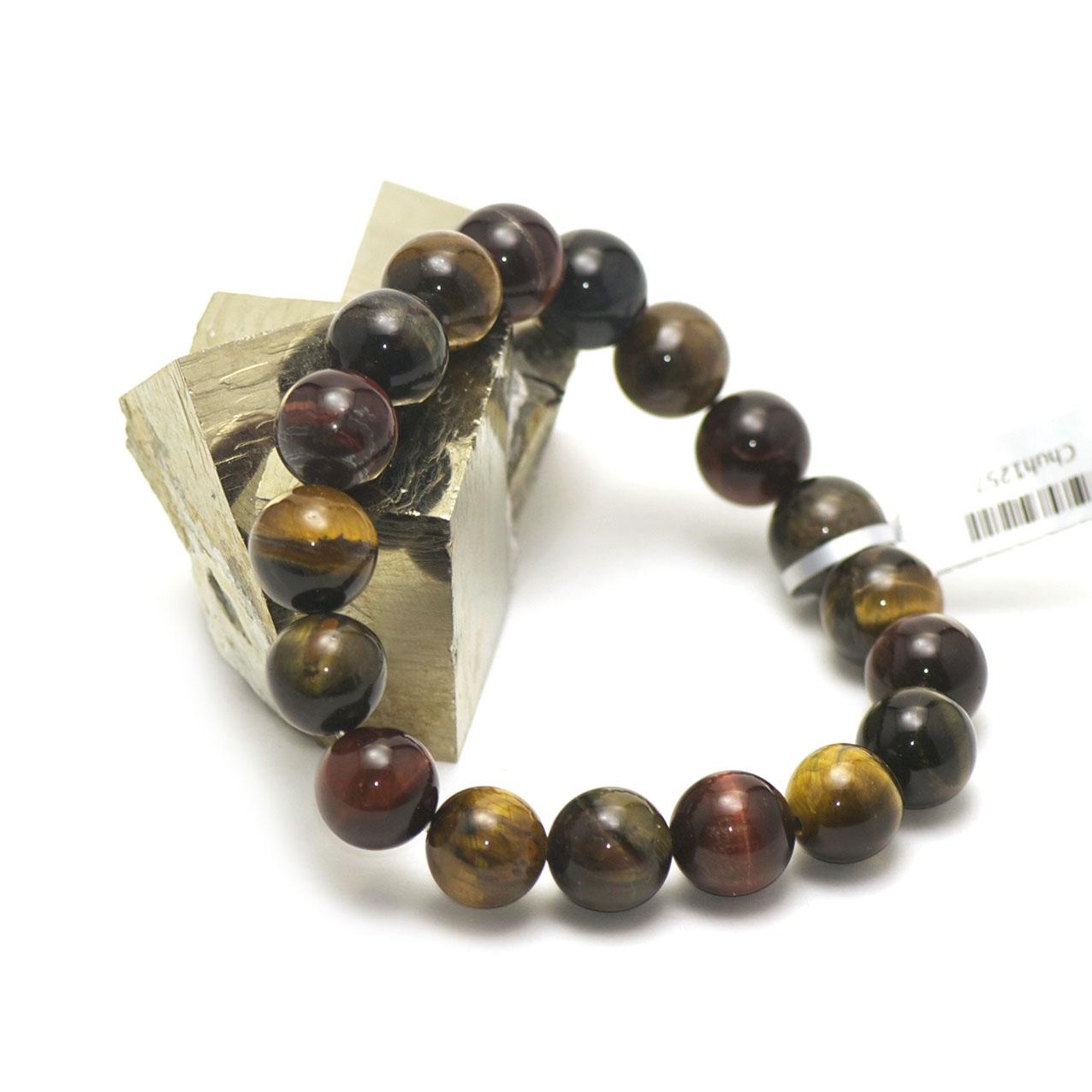 bracelet trois oeil (oeil de tigre/oeil de taureau/oeil de faucon) , perle ronde 12mm