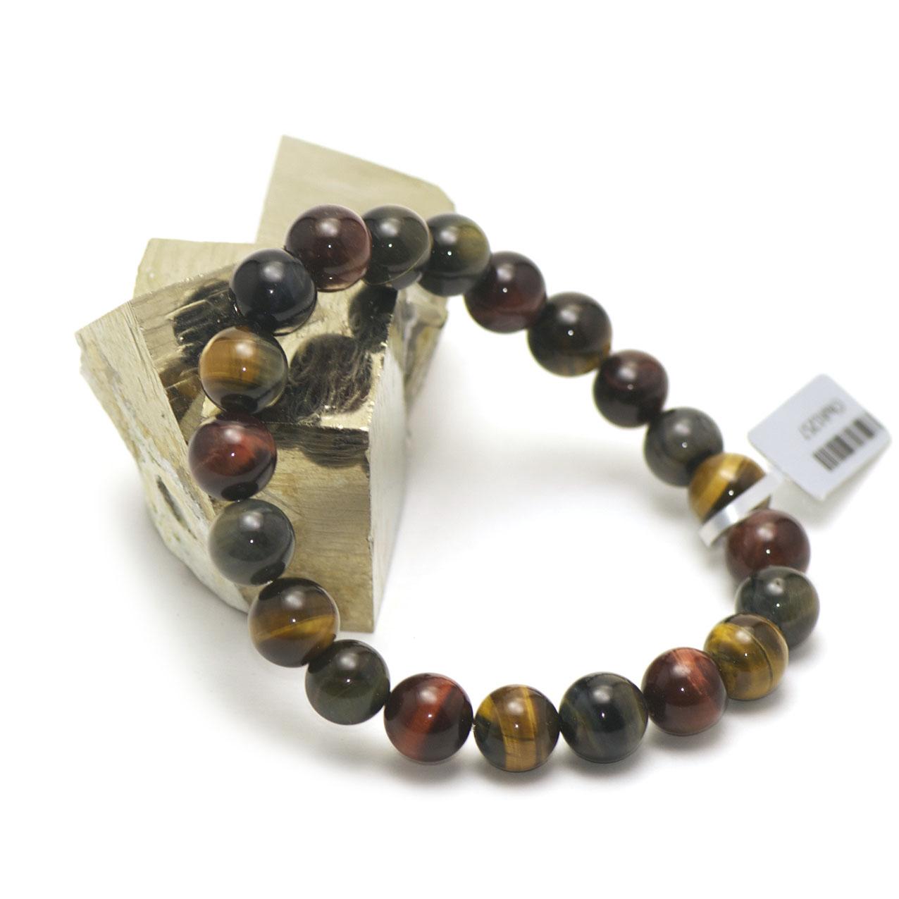 bracelet  trois oeil (oeil de tigre/oeil de taureau/oeil de faucon) , perle ronde 10 mm