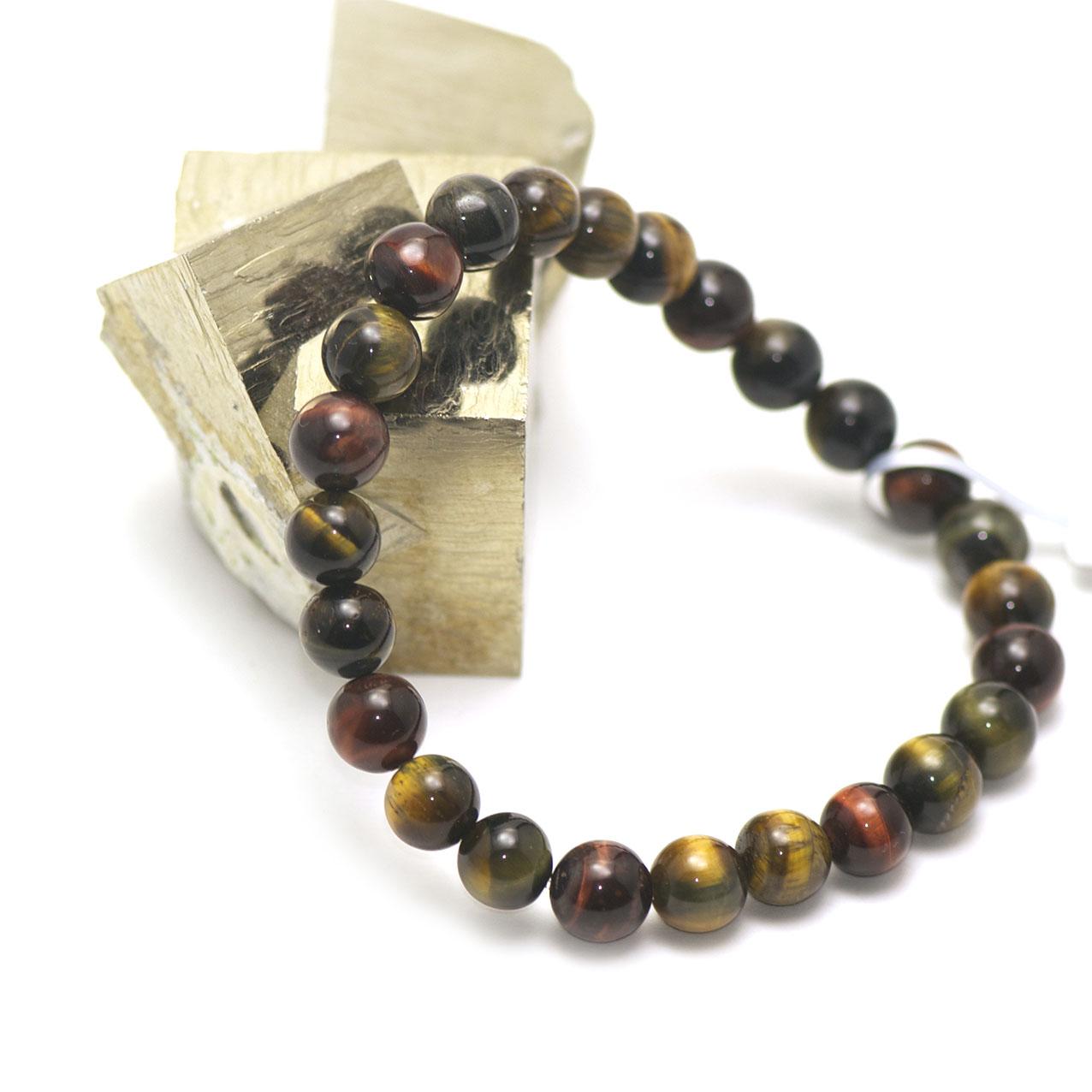 bracelet trois oeil (oeil de tigre/oeil de taureau/oeil de faucon) , perle ronde 8 mm