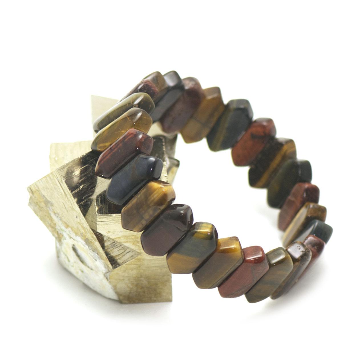 bracelet  trois oeil (oeil de tigre/oeil de taureau/oeil de faucon) plaquette  double pointe