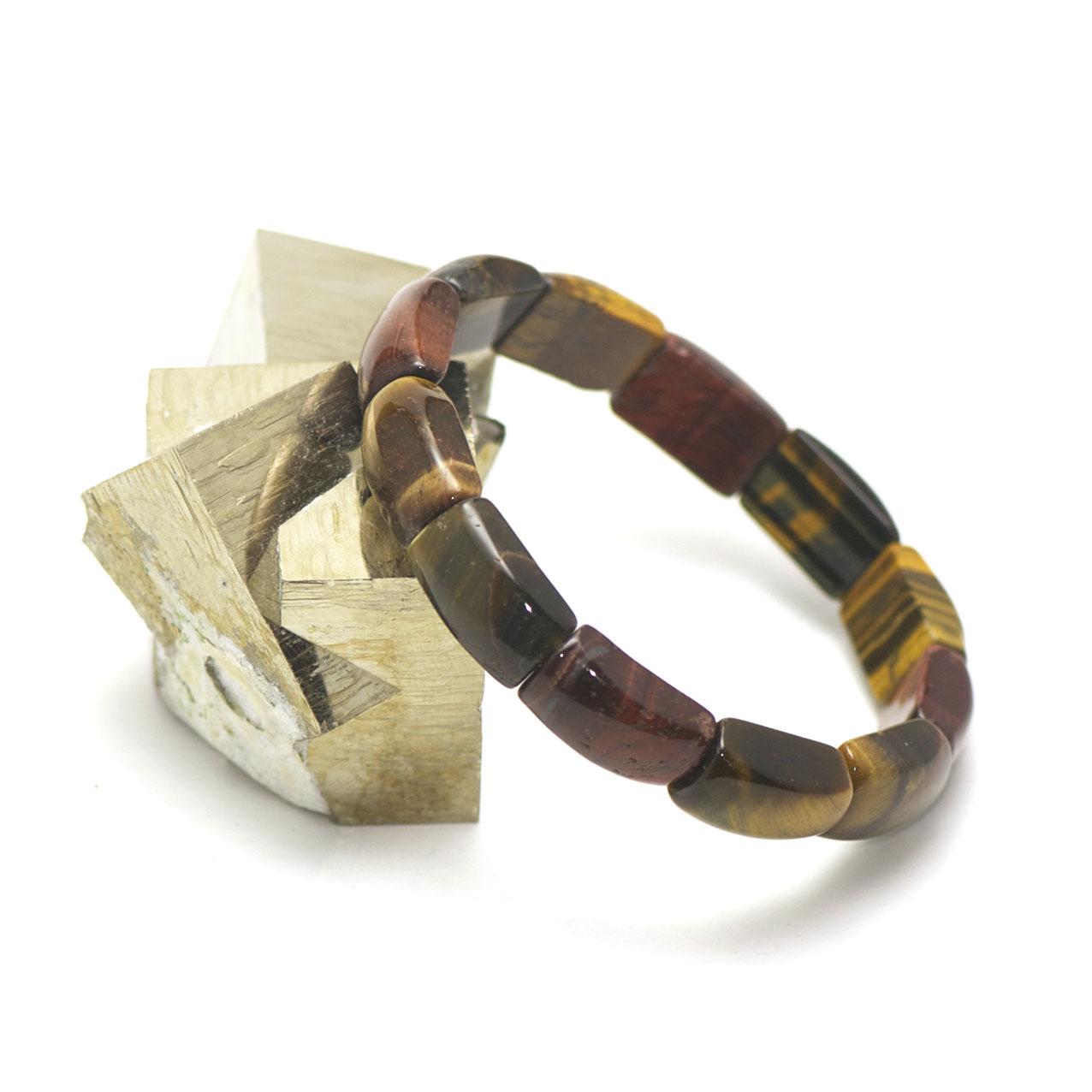 Bracelet trois oeil(oeil de tigre/oeil de taureau/oeil de faucon), plaquette jonc