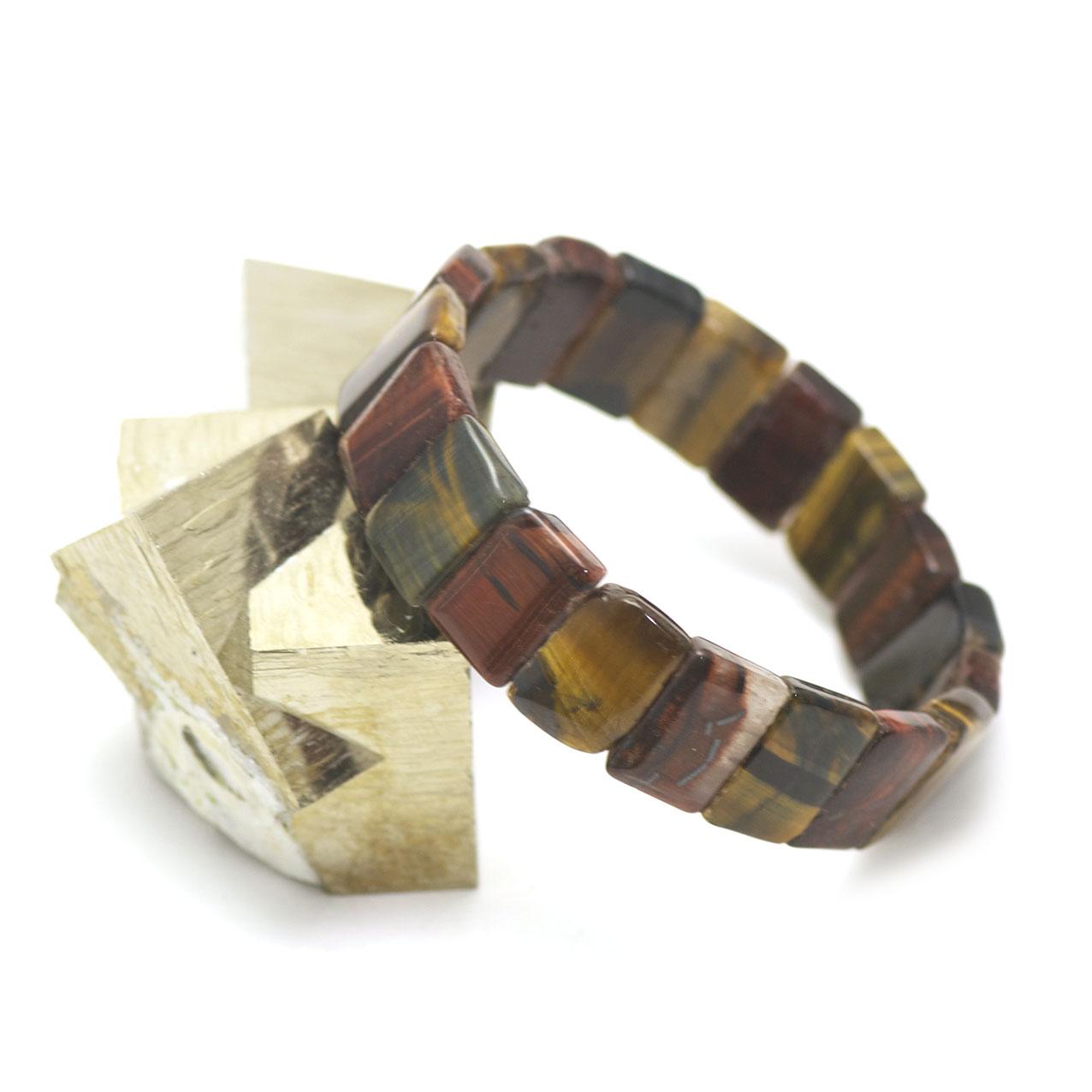 bracelet trois oeil(oeil de tigre/oeil de taureau/oeil de faucon) , plaquette  rectangle