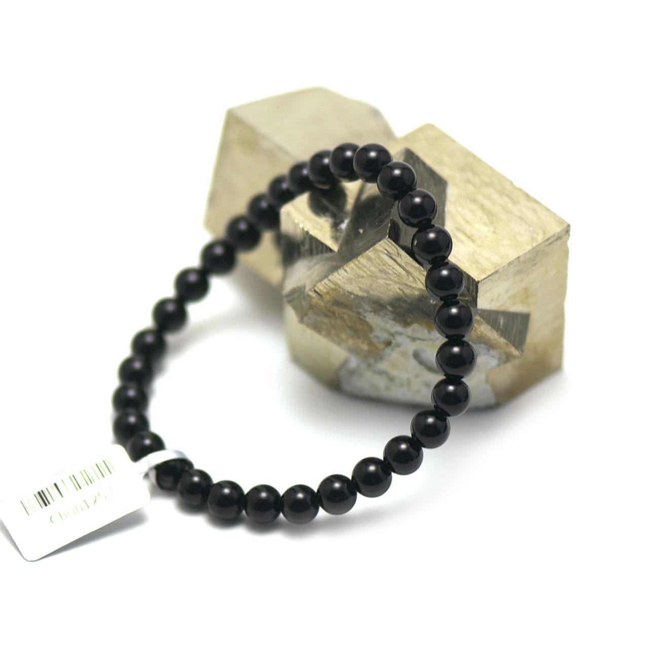 bracelet onyx ,  perle ronde 6 mm