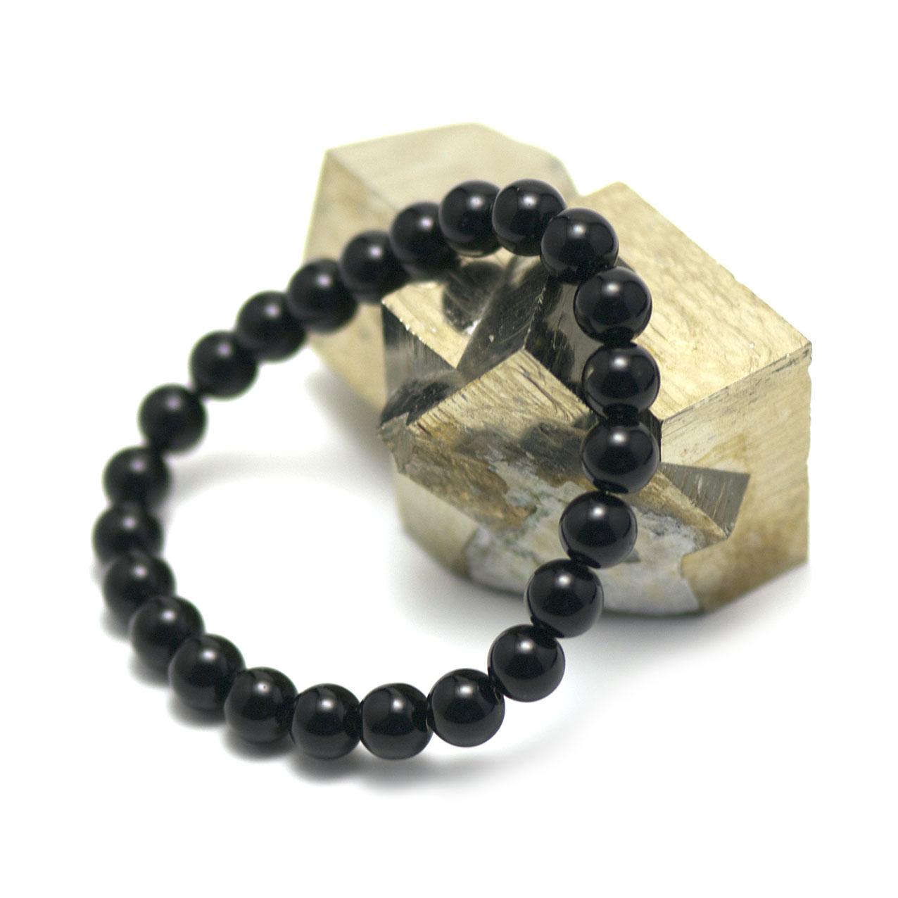 bracelet onyx , perle ronde 8 mm
